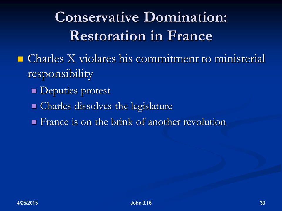 Conservative Domination: Restoration in France