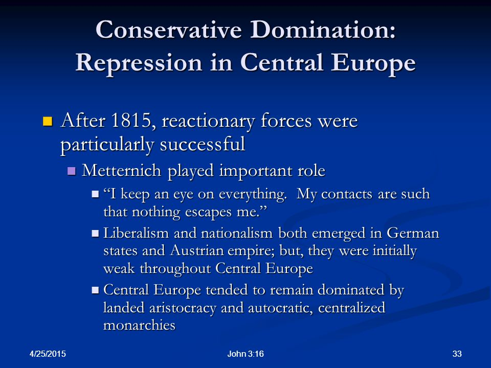 Conservative Domination: Repression in Central Europe