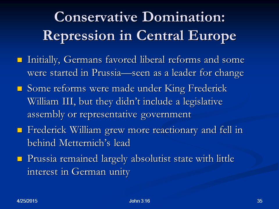 Conservative Domination: Repression in Central Europe