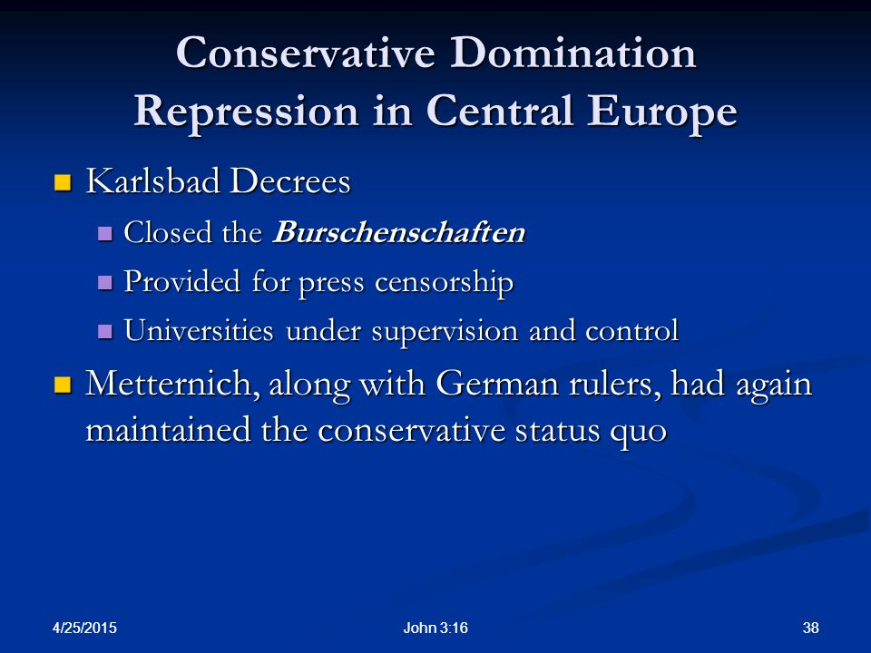 Conservative Domination Repression in Central Europe