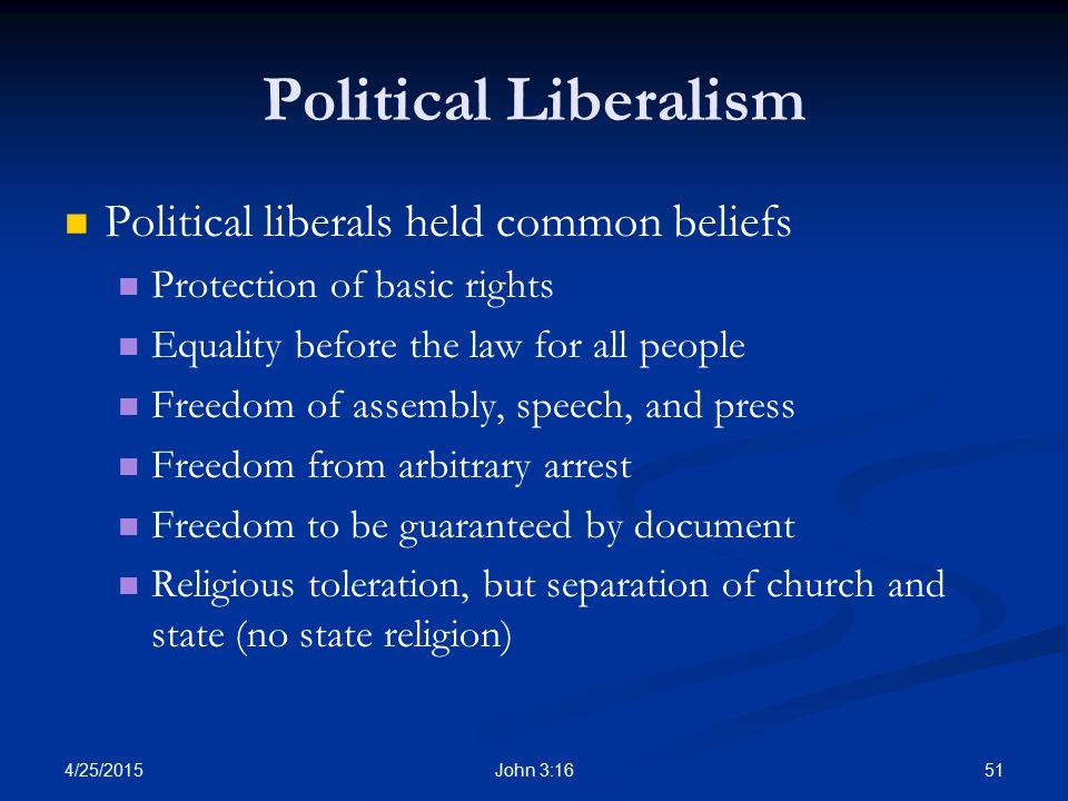 Political Liberalism Political liberals held common beliefs