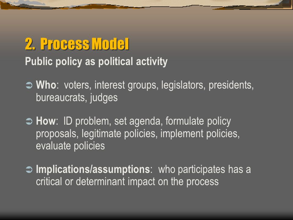 2. Process Model Public policy as political activity