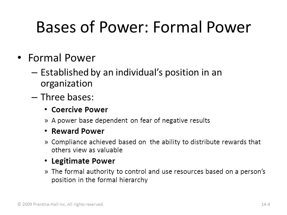 Bases of Power: Personal Power