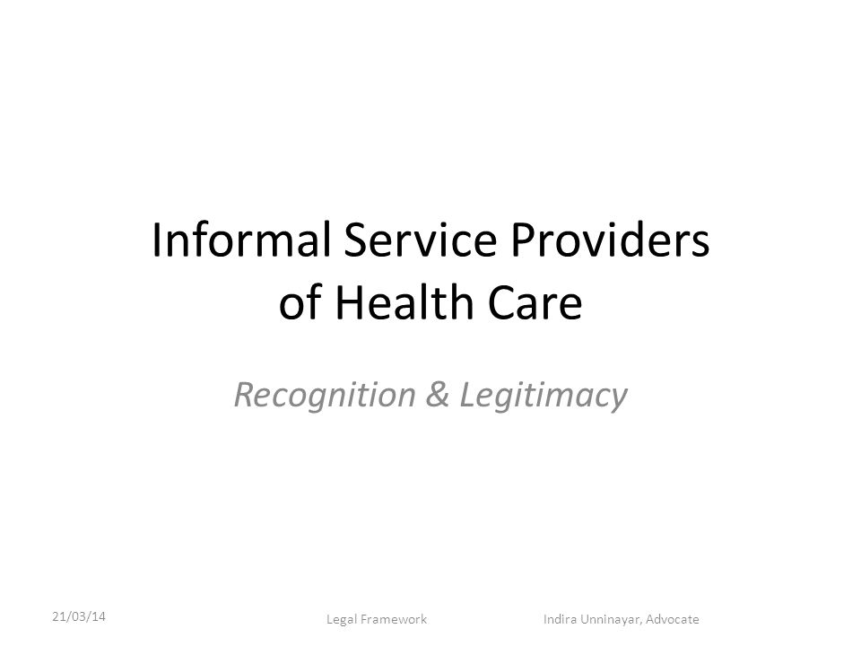 Informal Service Providers of Health Care