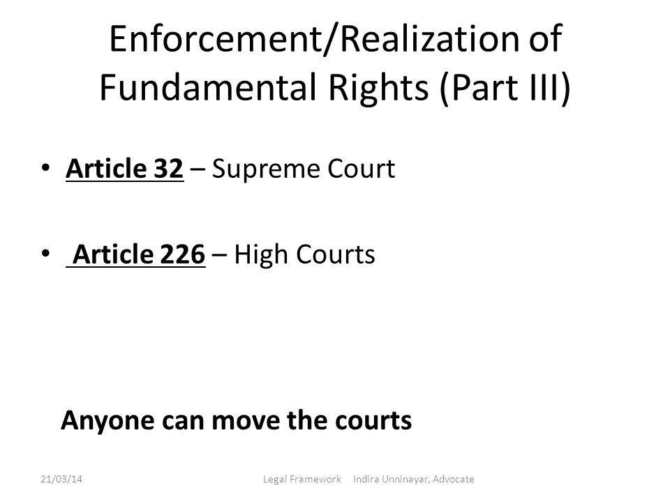 Enforcement/Realization of Fundamental Rights (Part III)