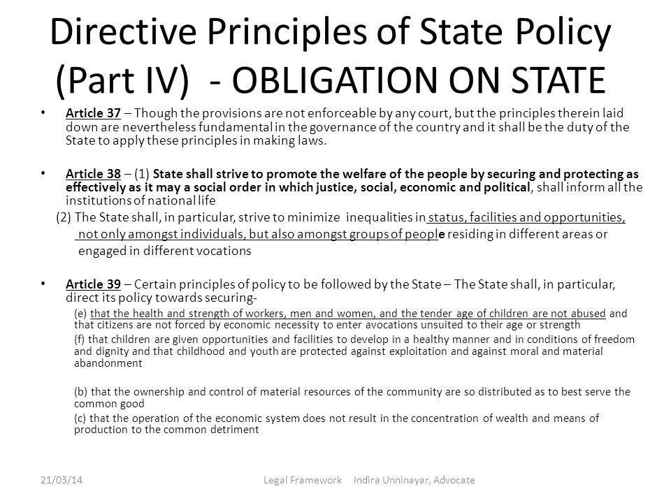 Directive Principles of State Policy (Part IV) - OBLIGATION ON STATE
