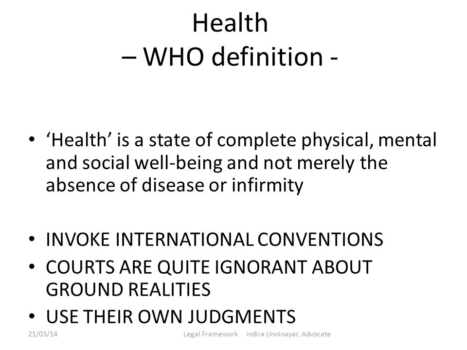 Health – WHO definition -