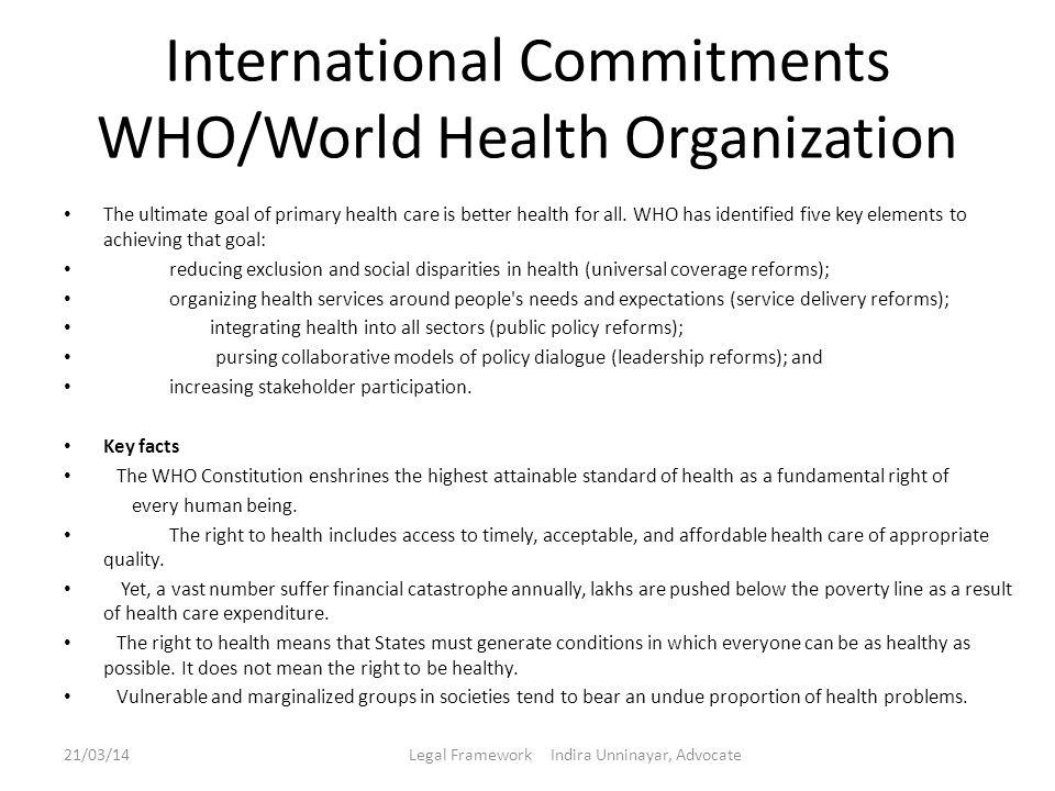 International Commitments WHO/World Health Organization