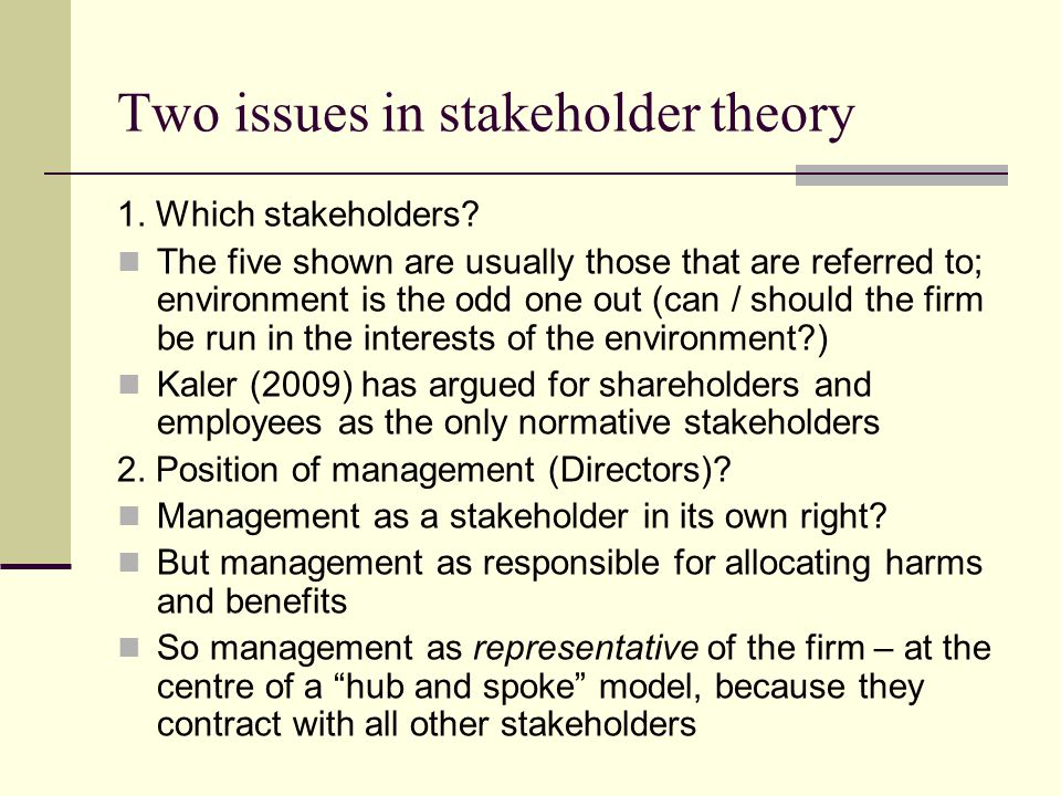 Two issues in stakeholder theory