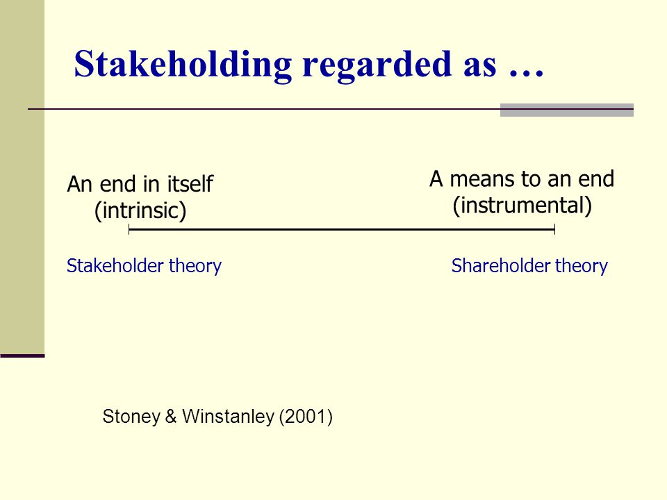 Stakeholding regarded as …