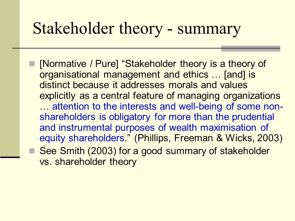 Shareholder and stakeholder theory