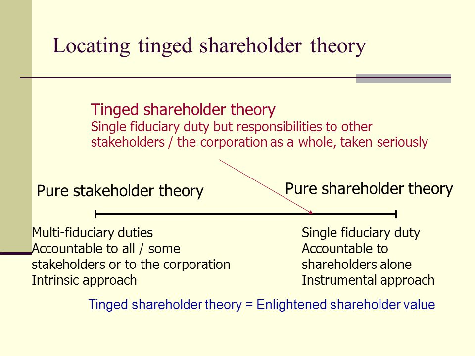 tinged shareholder theory Shareholder theory and stakeholder theory this 8 page paper examins shareholder theory, stakeholder theory and tinged shareholder theory after considering the theories and their meaning they are applied to a real company british telecom to argue that a tinged shareholder approach is being taken.