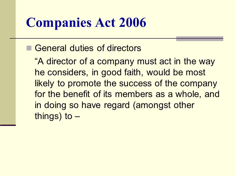 Companies Act 2006 General duties of directors