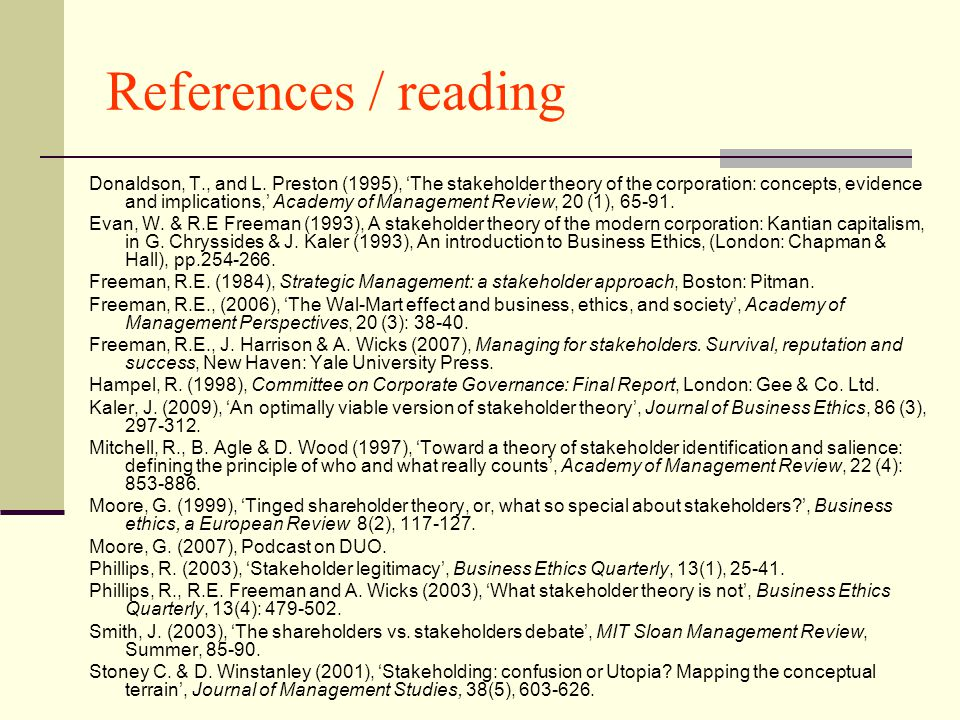 References / reading