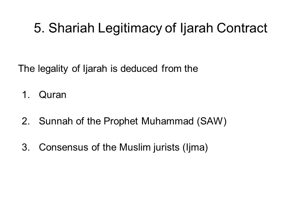 5. Shariah Legitimacy of Ijarah Contract