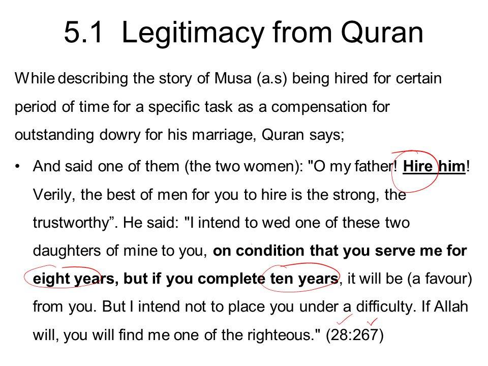 5.1 Legitimacy from Quran