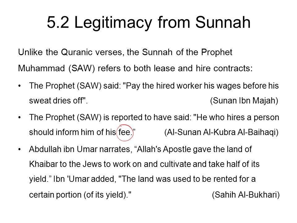 5.2 Legitimacy from Sunnah