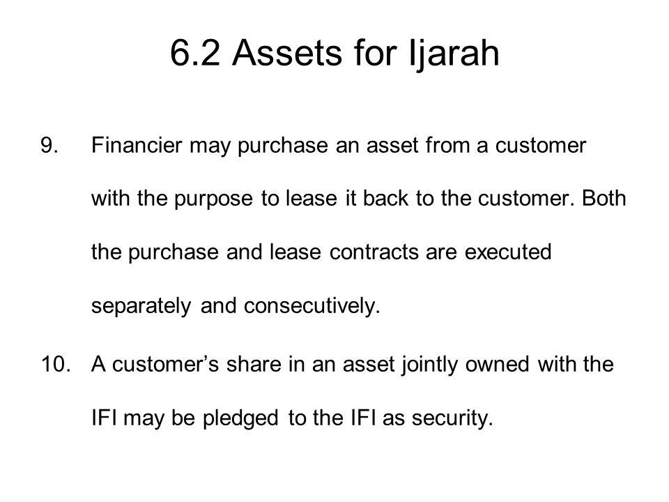 6.2 Assets for Ijarah