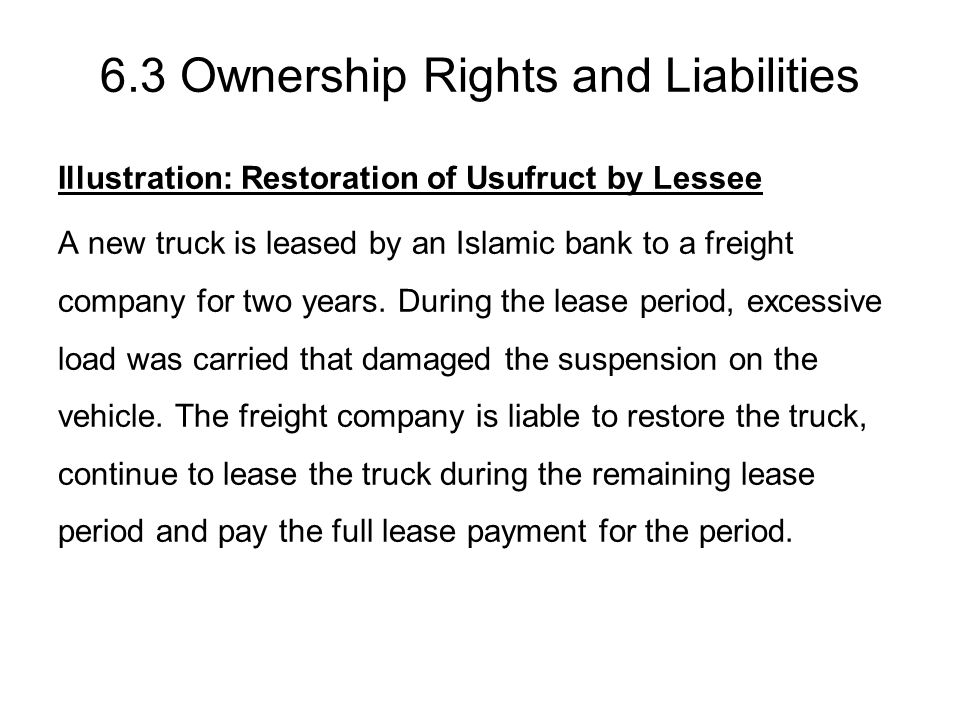 6.3 Ownership Rights and Liabilities