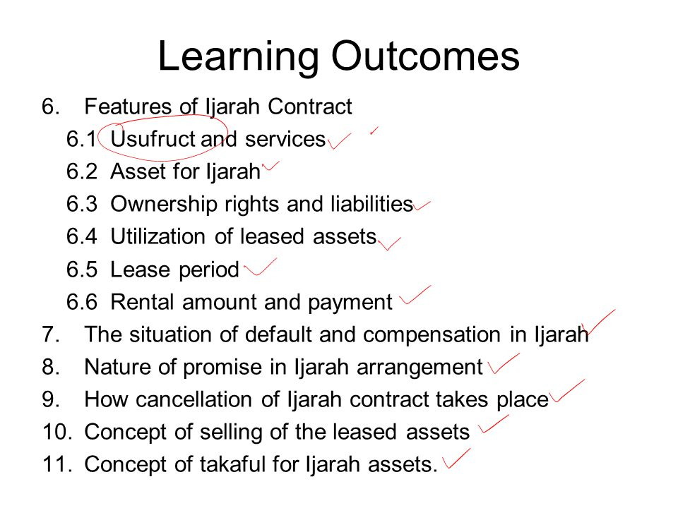 Learning Outcomes Features of Ijarah Contract