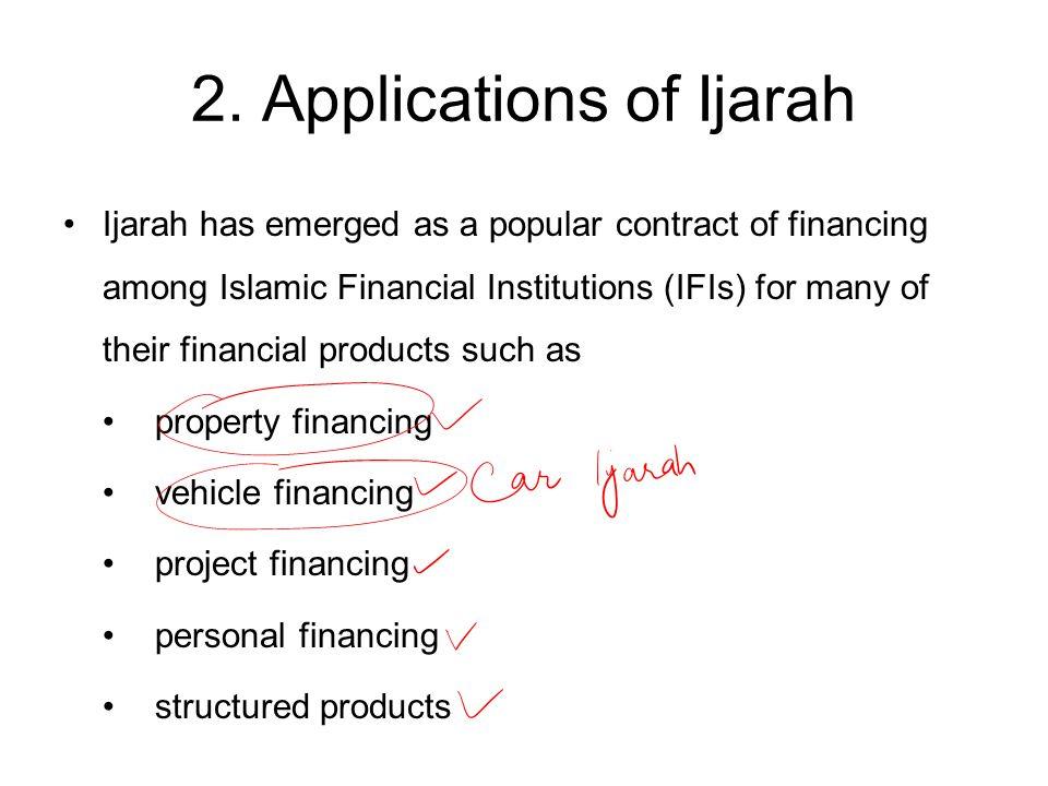 2. Applications of Ijarah