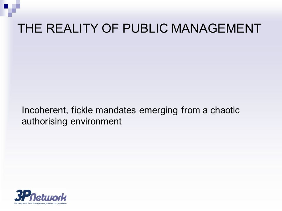 THE REALITY OF PUBLIC MANAGEMENT