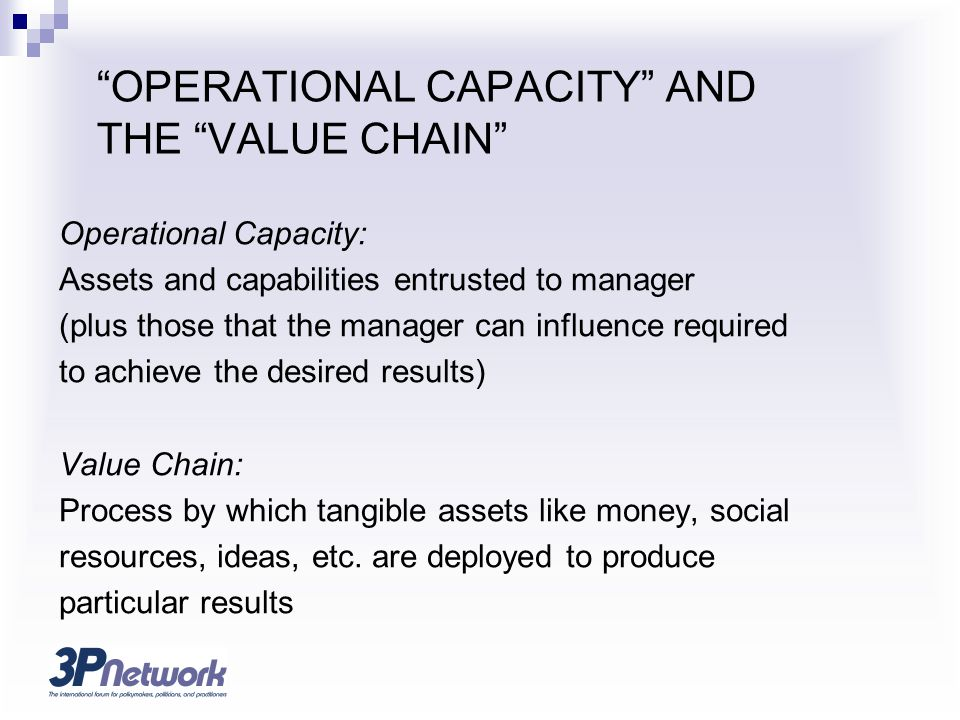 OPERATIONAL CAPACITY AND THE VALUE CHAIN