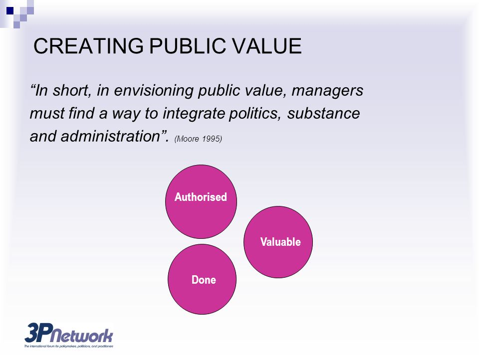 CREATING PUBLIC VALUE In short, in envisioning public value, managers