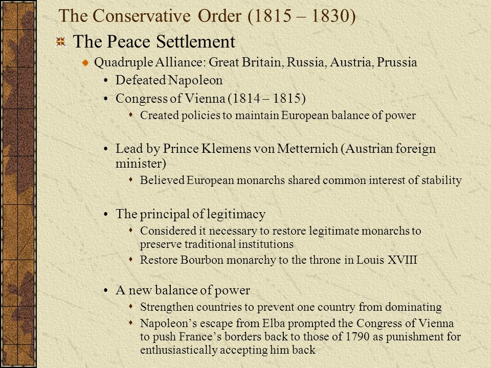 The Conservative Order (1815 – 1830)