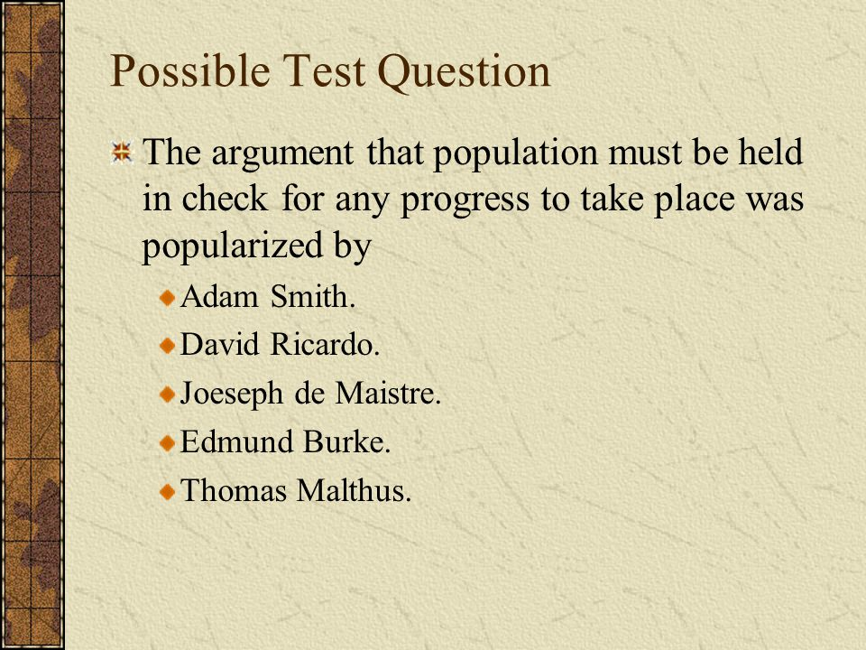 Possible Test Question