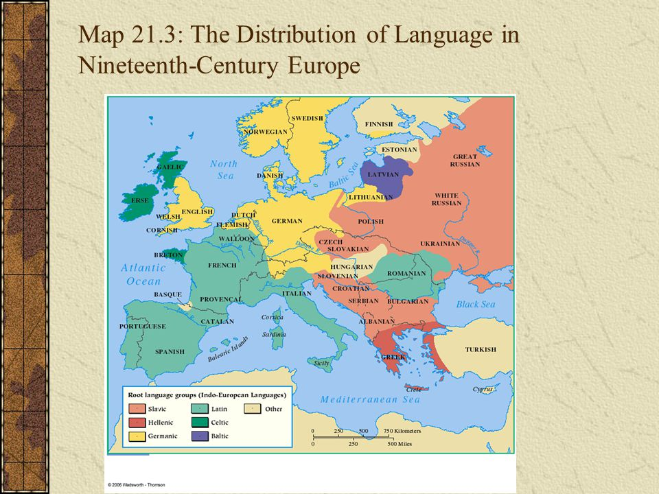 Map 21.3: The Distribution of Language in Nineteenth-Century Europe