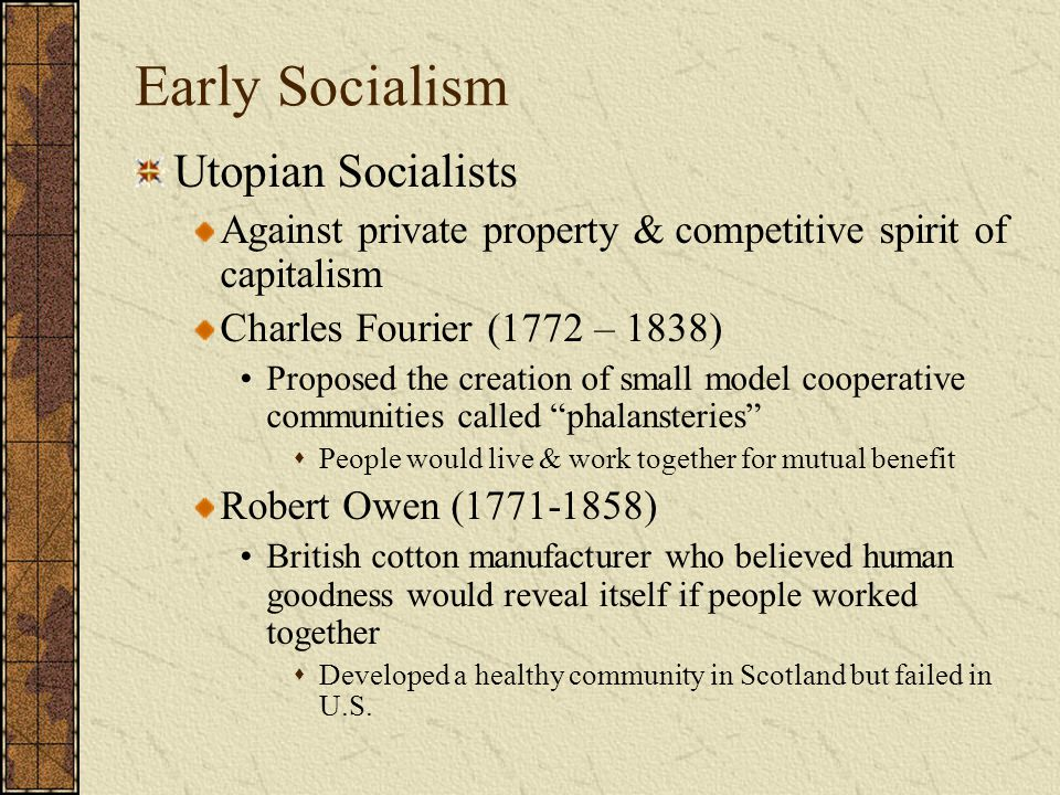 Early Socialism Utopian Socialists