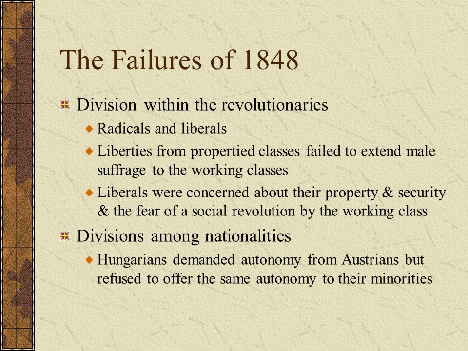 The Failures of 1848 Division within the revolutionaries