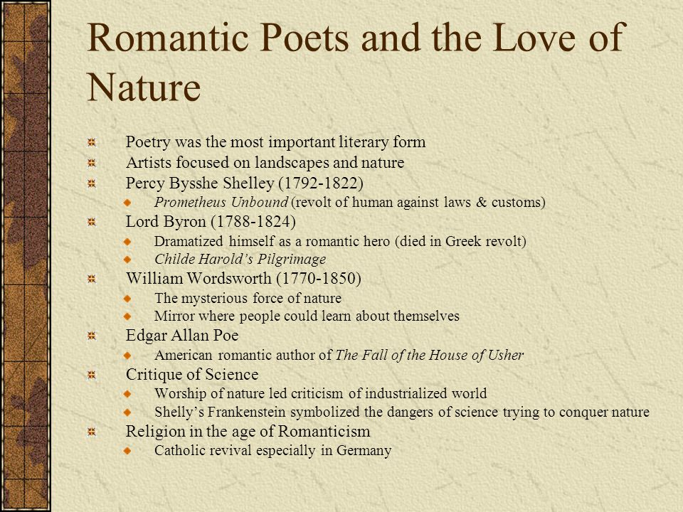 Romantic Poets and the Love of Nature
