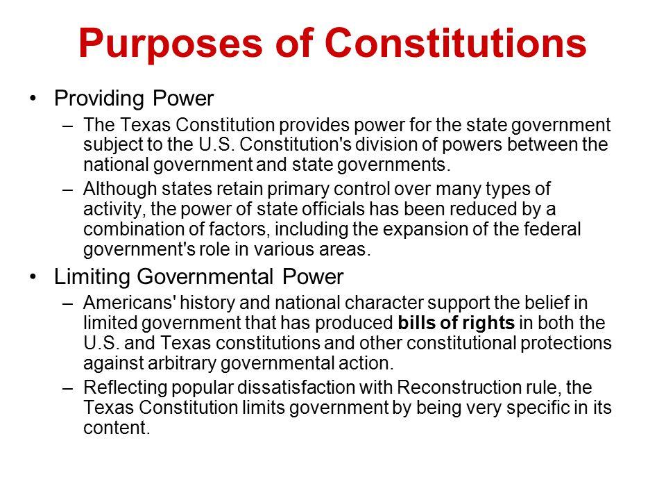 Purposes of Constitutions
