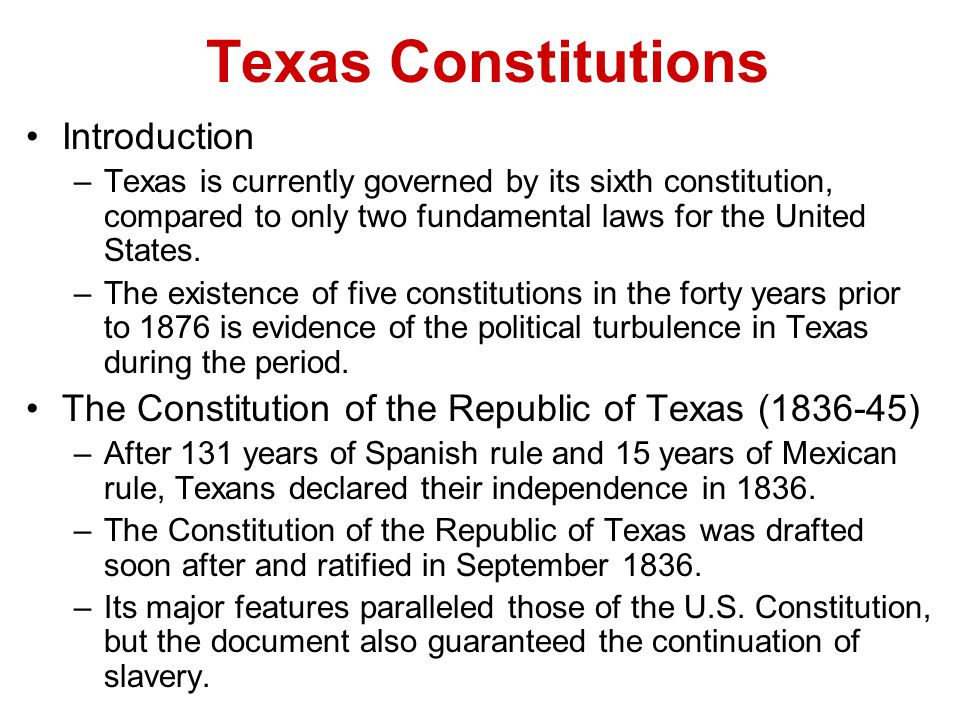 Texas Constitutions Introduction