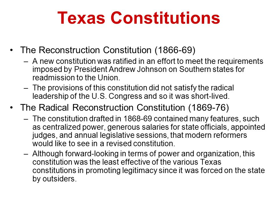 Texas Constitutions The Reconstruction Constitution (1866-69)