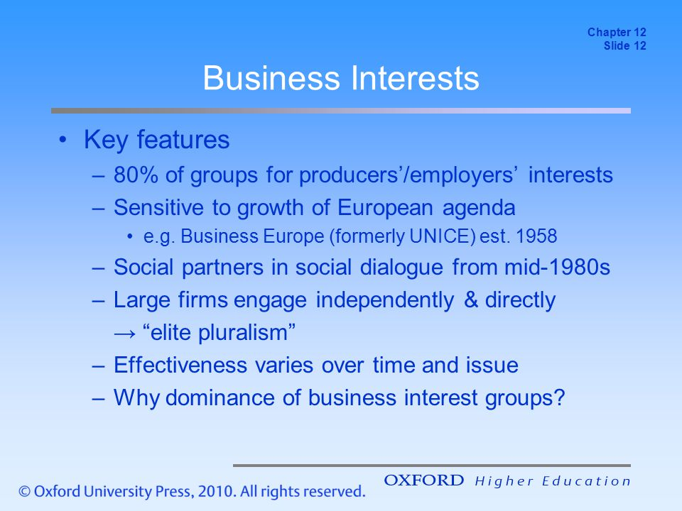 Business Interests Key features