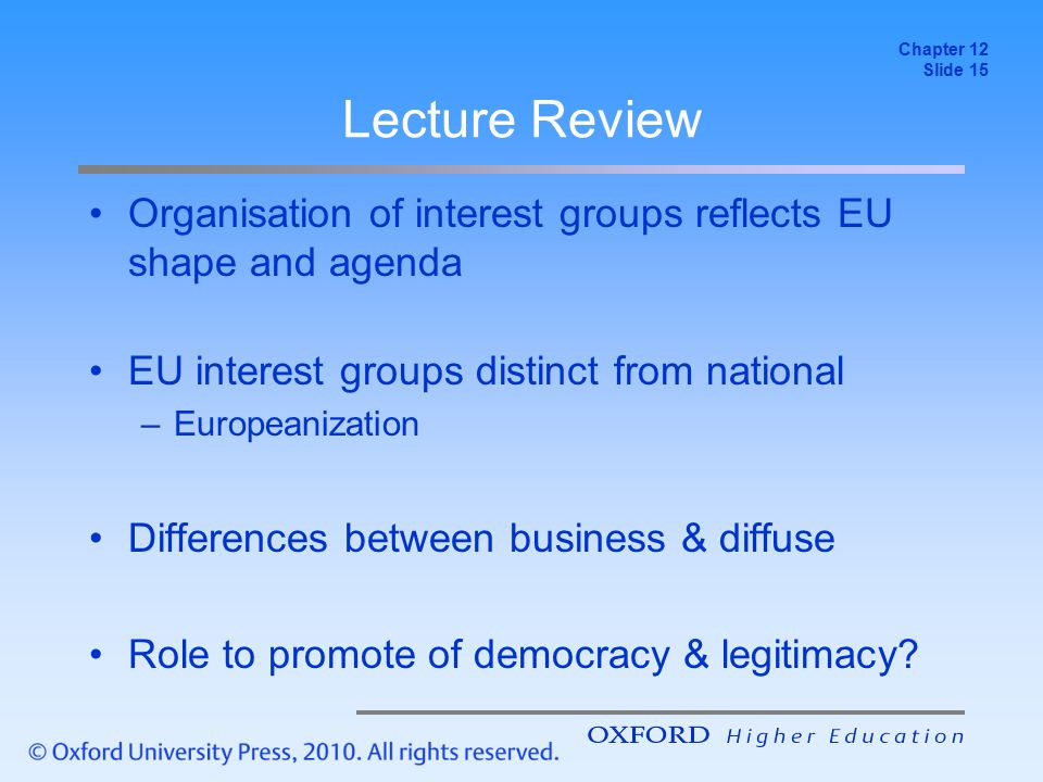 Chapter 12 Slide 15. Lecture Review. Organisation of interest groups reflects EU shape and agenda.