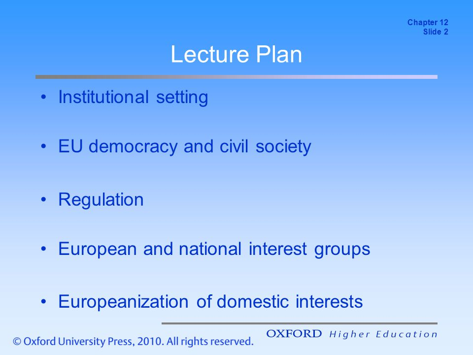Lecture Plan Institutional setting EU democracy and civil society