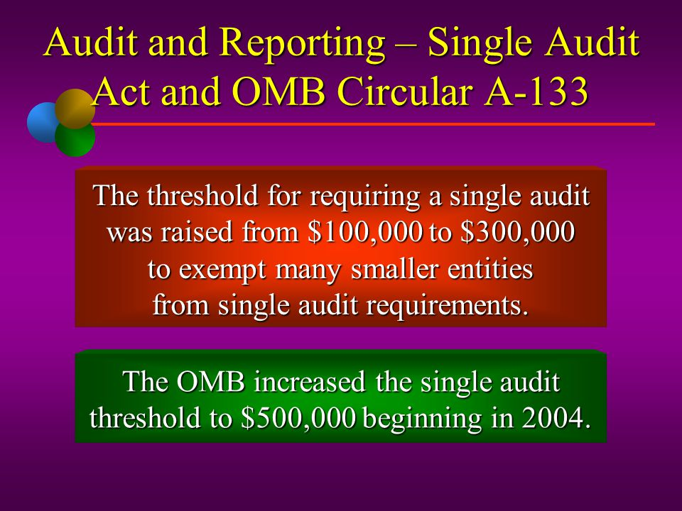 Audit and Reporting – Single Audit Act and OMB Circular A-133