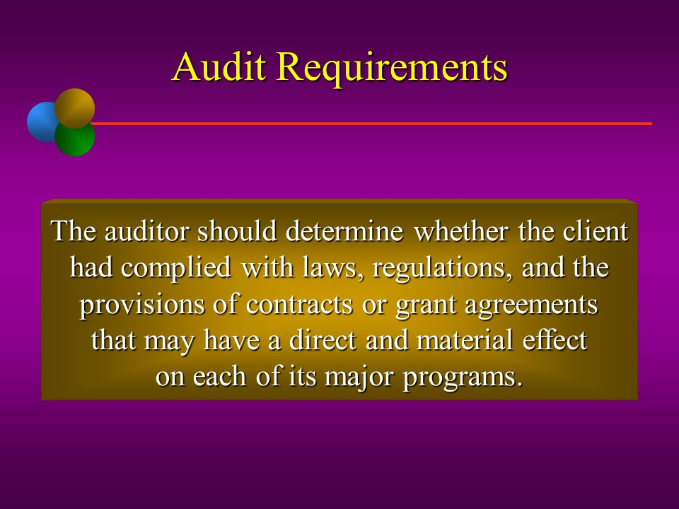 Audit Requirements The auditor should determine whether the client