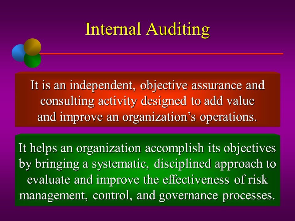 Internal Auditing It is an independent, objective assurance and