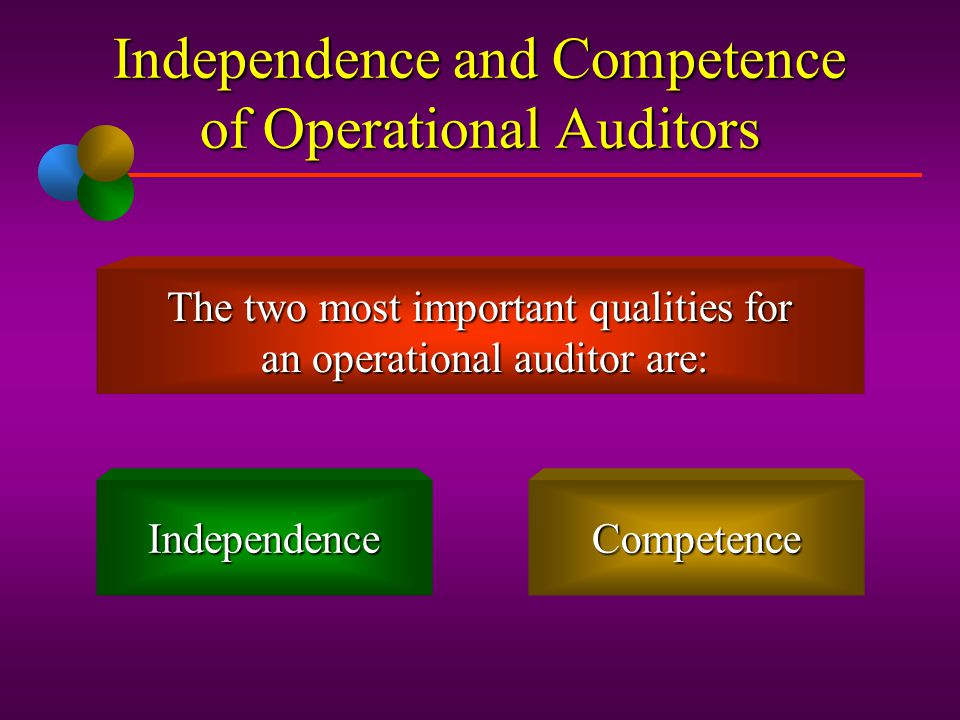 Independence and Competence of Operational Auditors