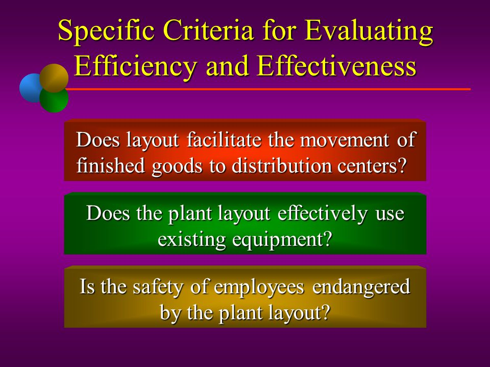 Specific Criteria for Evaluating Efficiency and Effectiveness