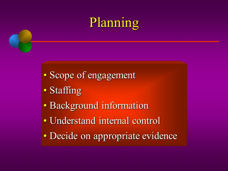 Planning Scope of engagement Staffing Background information
