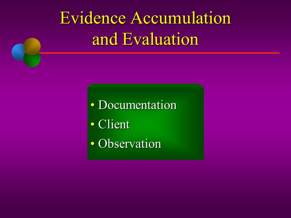 Evidence Accumulation and Evaluation