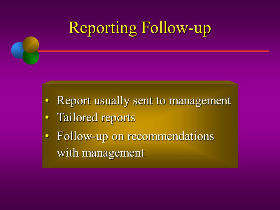 Reporting Follow-up Report usually sent to management Tailored reports