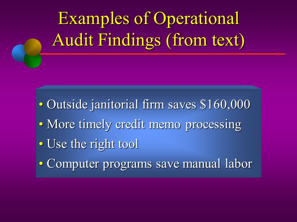 Examples of Operational Audit Findings (from text)