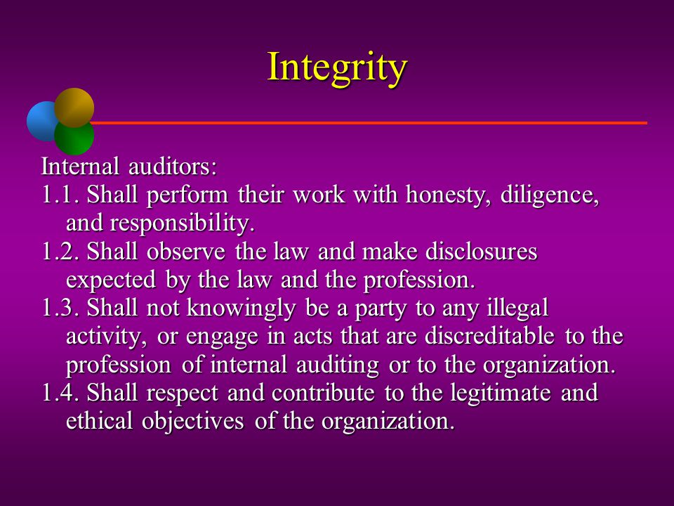 Integrity Internal auditors: